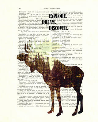 Moose Mixed Media Digital Art - Moose - Explore Dream Discover - Inspiration by Madame Memento