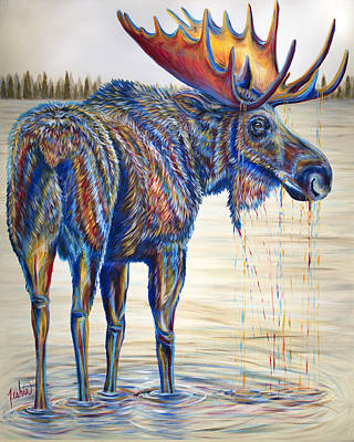Montana Painting - Moose Gathering, 2 Piece Diptych- Piece 1- Left Panel by Teshia Art
