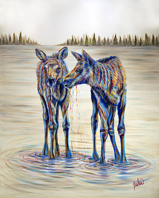Moose Gathering, 2 Piece Diptych- Piece 2- Right Panel Art Print by Teshia Art