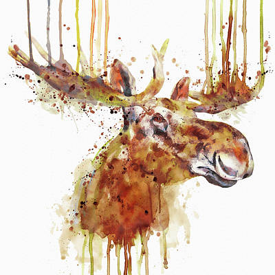 Moose Head Print by Marian Voicu