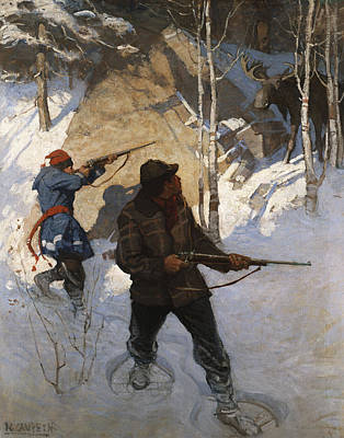 Wintry Drawing - Moose Hunting by Newell Convers Wyeth