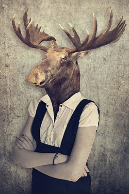 Moose In Clothes. Concept Graphic In Vintage Style.   Art Print
