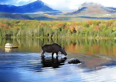 Denali Painting - Moose In Denali National Park Lake  by Elaine Plesser