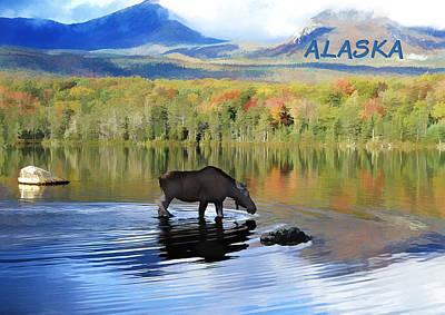 Denali Painting - Moose In Denali National Park Lake Text Alaska by Elaine Plesser