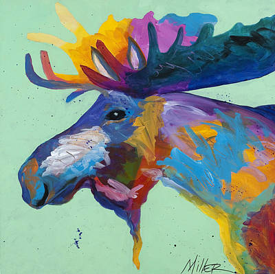 Bold Colorful Painting - Moose In Green by Tracy Miller