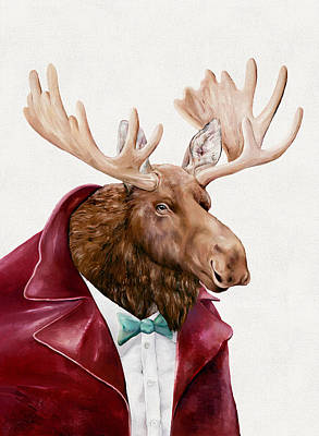 Animal Wall Art - Painting - Moose In Maroon by Animal Crew
