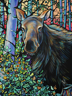 Wall Art - Painting - Moose In Summer by Alison Newth