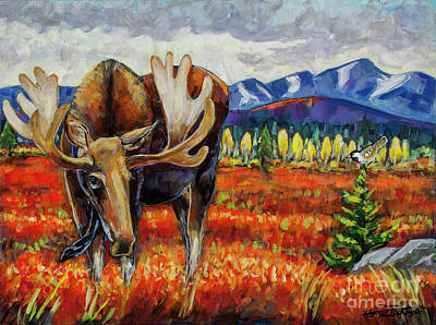 Tundra Painting - Moose In The Autumn Tundra by Harriet Peck Taylor