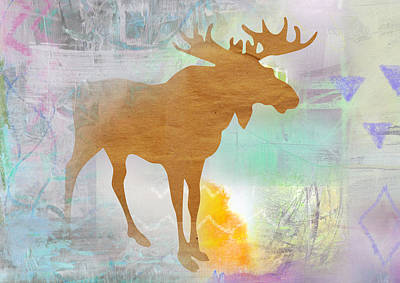 Moose In The Fog  Art Print by Claudia Schoen