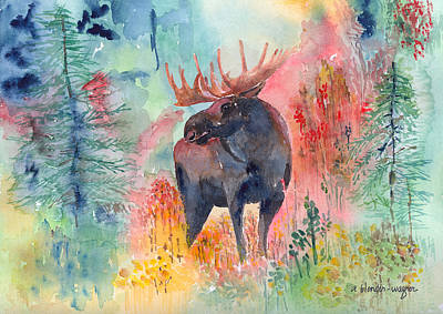 Moose Watercolor Painting - Moose In The Wilderness by Arline Wagner