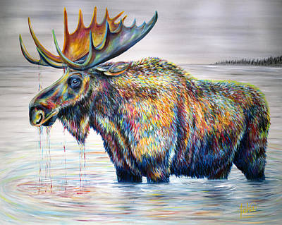 Banff Wall Art - Painting - Moose Island by Teshia Art