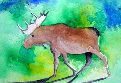 Painting - Moose by Liz Adkinson
