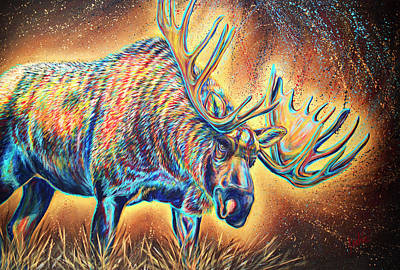 Painting - Moose Madness by Teshia Art