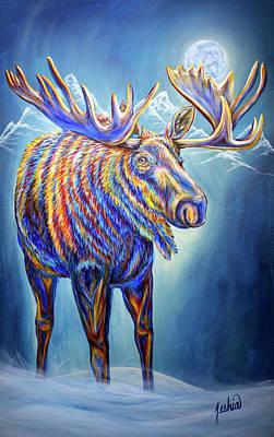 Painting - Moose Moon by Teshia Art