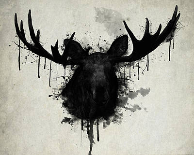 Deer Drawing - Moose by Nicklas Gustafsson