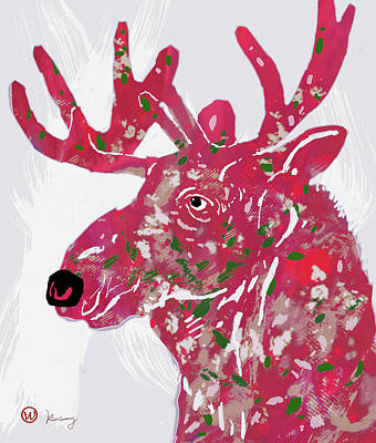 Stylized Mixed Media - Moose - Pop Art Poster by Kim Wang
