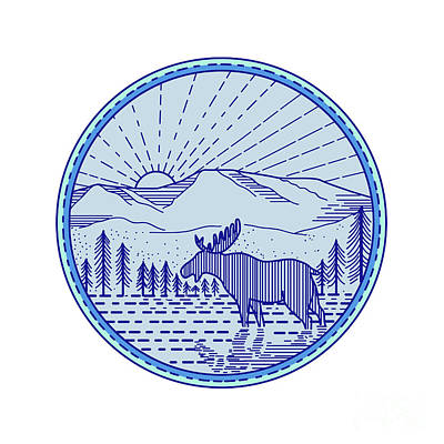 Moose River Flat Mountains Sunburst Circle Mono Line Art Print by Aloysius Patrimonio