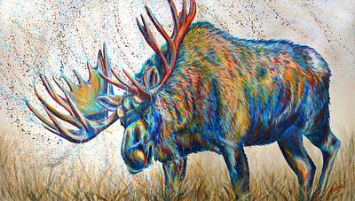 Moose Painting - Moose Rut by Teshia Art