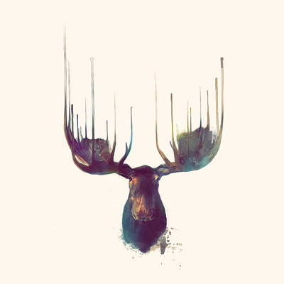 Forest Painting - Moose // Squared Format by Amy Hamilton