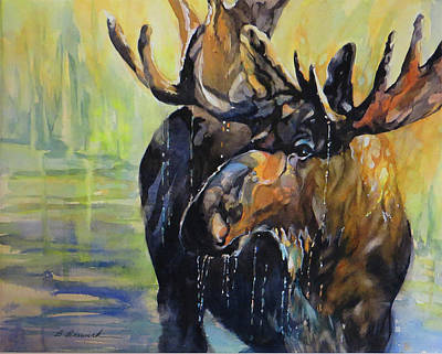 Wall Art - Painting - Moose Time In The Marsh  by Beverly Berwick