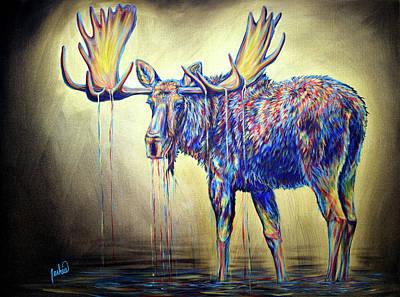 Painting - Moose Visions by Teshia Art