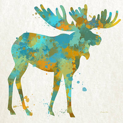 Big Square Format Mixed Media - Moose Watercolor Art by Christina Rollo