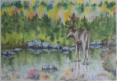 Painting - Moose Watercolor by Jill Annette Johnson
