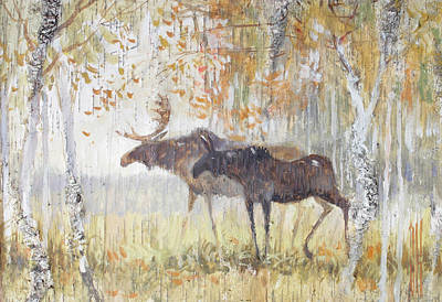 Painting - Mooses In The Autumn Woods by Ilya Kondrashov