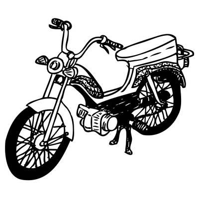 Bike Drawing - Moped by Karl Addison