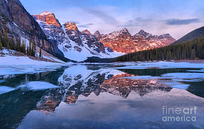Photograph - Moraine Lake Spring Reflection Panorama by Adam Jewell