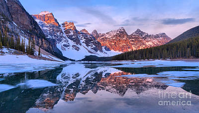 Photograph - Morain Lake Spring Sunrise Glow Panorama by Adam Jewell