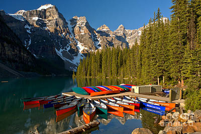 Photograph - Moraine Canoes In The Sun by Adam Jewell