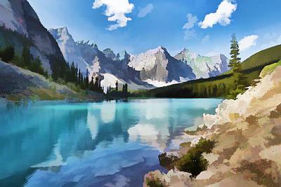 Banff Wall Art - Painting - Moraine Lake At Banff National Park by Jeelan Clark