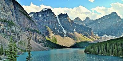 Photograph - Moraine Lake Banff Pano by Frozen in Time Fine Art Photography