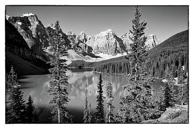 Photograph - Moraine Lake Bw by David Beebe