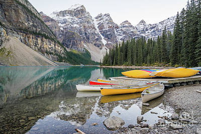 Photograph - Moraine Lake Canada Mountain Reflection With Canoes by Christy Woodrow