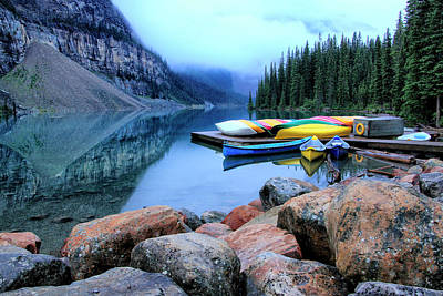Photograph - Moraine Lake Canoes by Catherine Alfidi