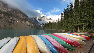 Photograph - Moraine Lake Canoes by Jack Nevitt