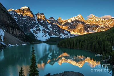 Photograph - Moraine Lake Golden Alpenglow Reflection by Mike Reid