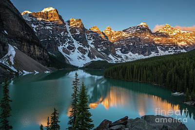 Canadian Rockies Photograph - Moraine Lake Golden Sunrise Reflection by Mike Reid