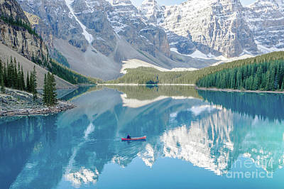 Photograph - Moraine Lake In Alberta, Canada With Canoe by Christy Woodrow