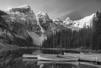 Photograph - Moraine Lake In Black And White by Adam Jewell