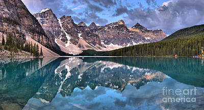 Photograph - Moraine Lake Spring Mirror Panorama by Adam Jewell