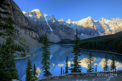 Moraine Lake Sunrise Blue Skies Art Print