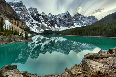 Photograph - Moraine Lake Sunset Reflections by Adam Jewell