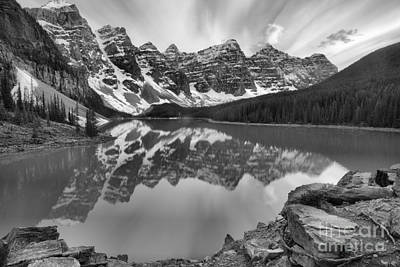Photograph - Moraine Lake Sunset Reflections Black And White by Adam Jewell