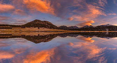 Colorado Sunset Photograph - Moraine Park Sunset Pano by Darren White
