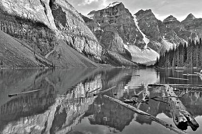 Photograph - Moraine Reflects In Black And White by Frozen in Time Fine Art Photography
