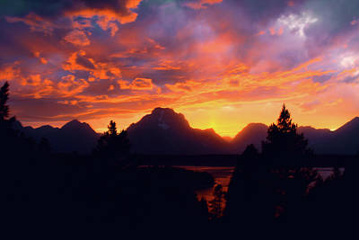 Photograph - Grand Tetons Sunset by Aidan Moran