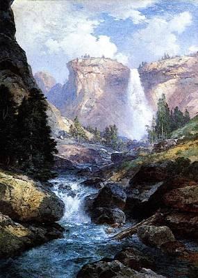 Moran Thomas Waterfall In Yosemite Art Print